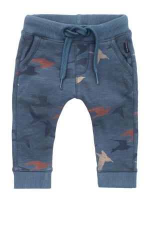 baby regular fit broek Reims met all over print zeeblauw