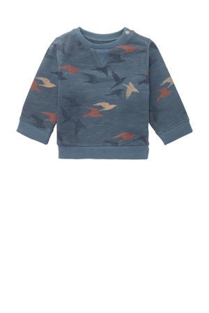 baby sweater Ramadi met all over print zeeblauw