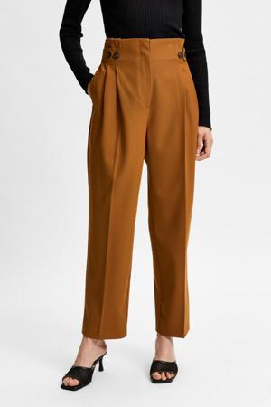 high waist straight fit broek SLFLEVA bruin