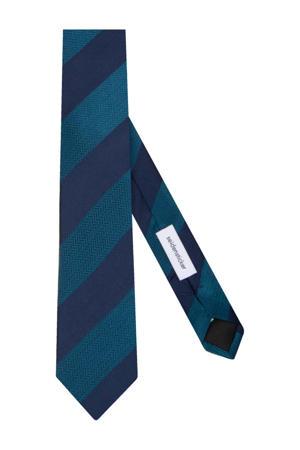 zijden stropdas donkerblauw/petrol