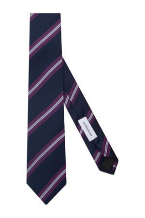 zijden stropdas donkerblauw/paars