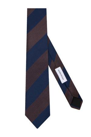 zijden stropdas donkerblauw/bruin