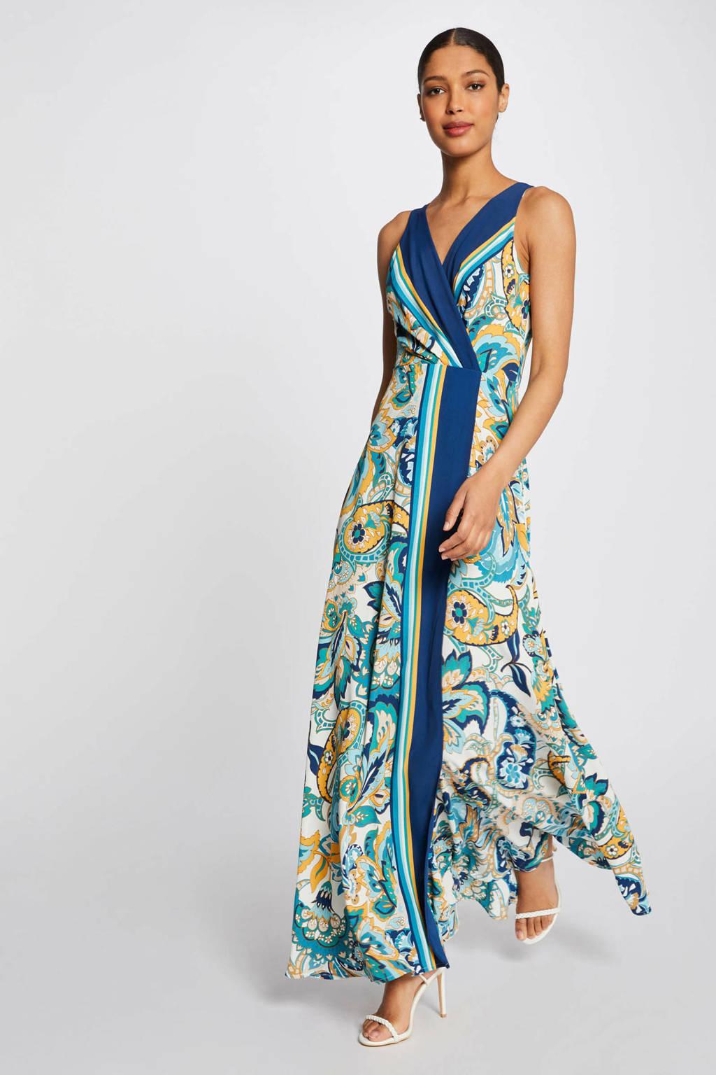 Morgan maxi jurk met paisleyprint blauw/ geel, Blauw/ Geel
