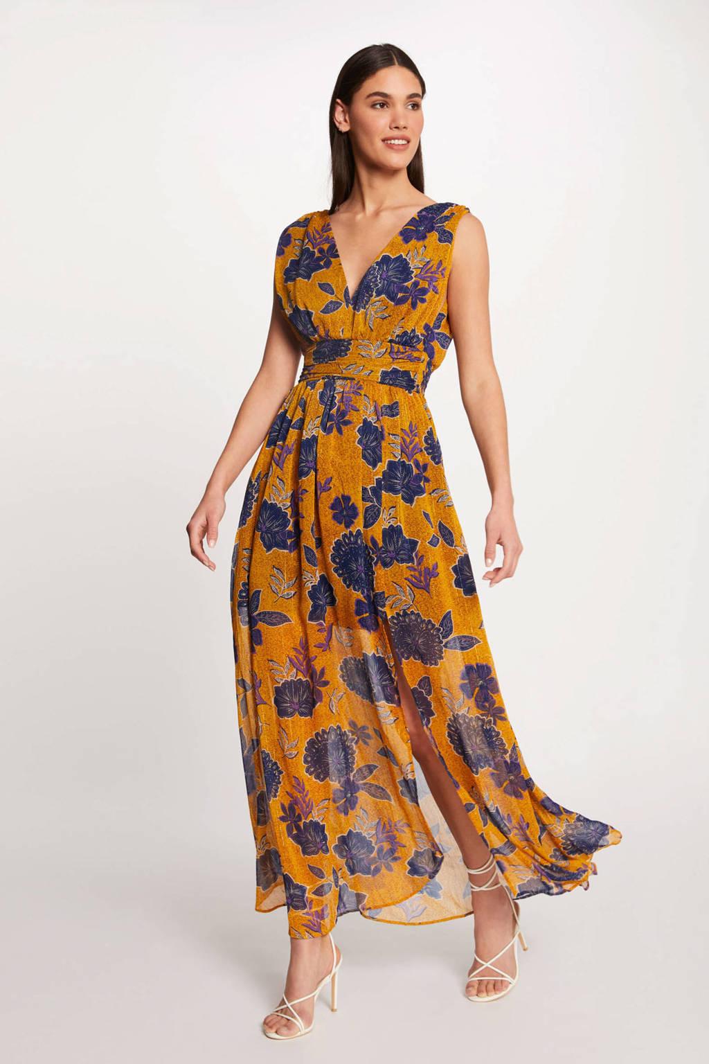 Morgan gebloemde maxi A-lijn jurk geel/ blauw, Geel/ blauw