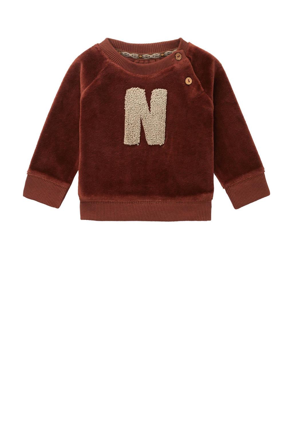 Noppies baby sweater Robel met tekst roestbruin, Roestbruin