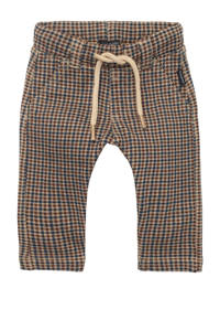 Noppies baby regular fit broek Radstadt met pied-de-poule beige/donkerrood/bruin, Beige/donkerrood/bruin