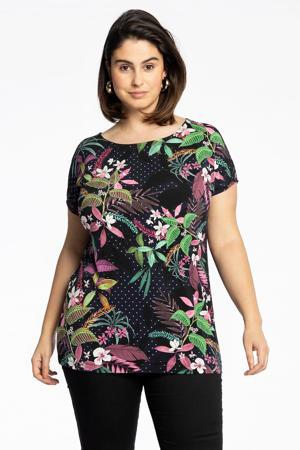 gebloemd T-shirt TROPIC DOTS donkerblauw/groen/roze