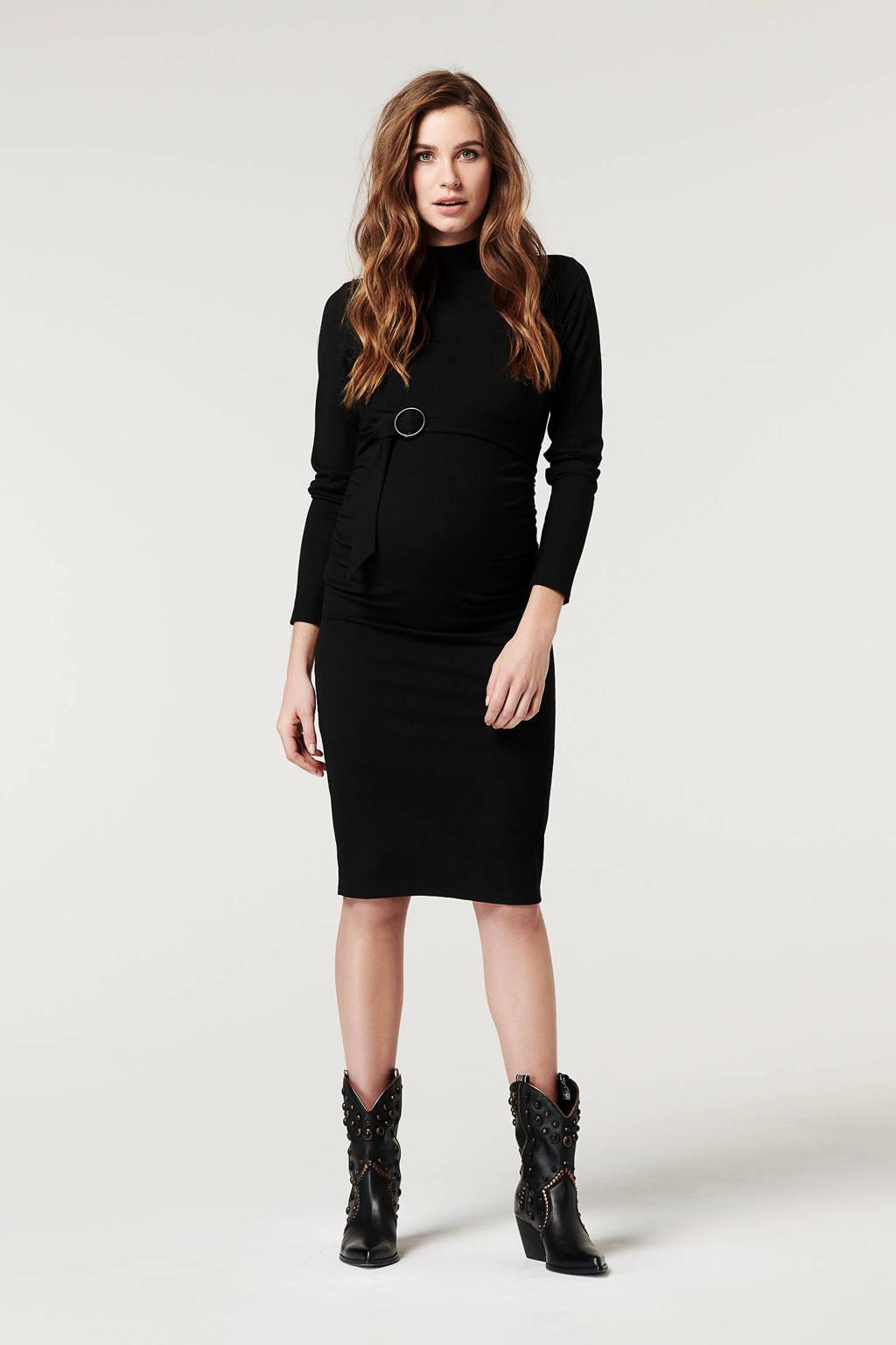 Supermom zwangerschapsjurk met ceintuur zwart, Zwart