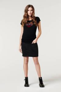 Supermom zwangerschapsT-shirt met hartjes zwart, Zwart