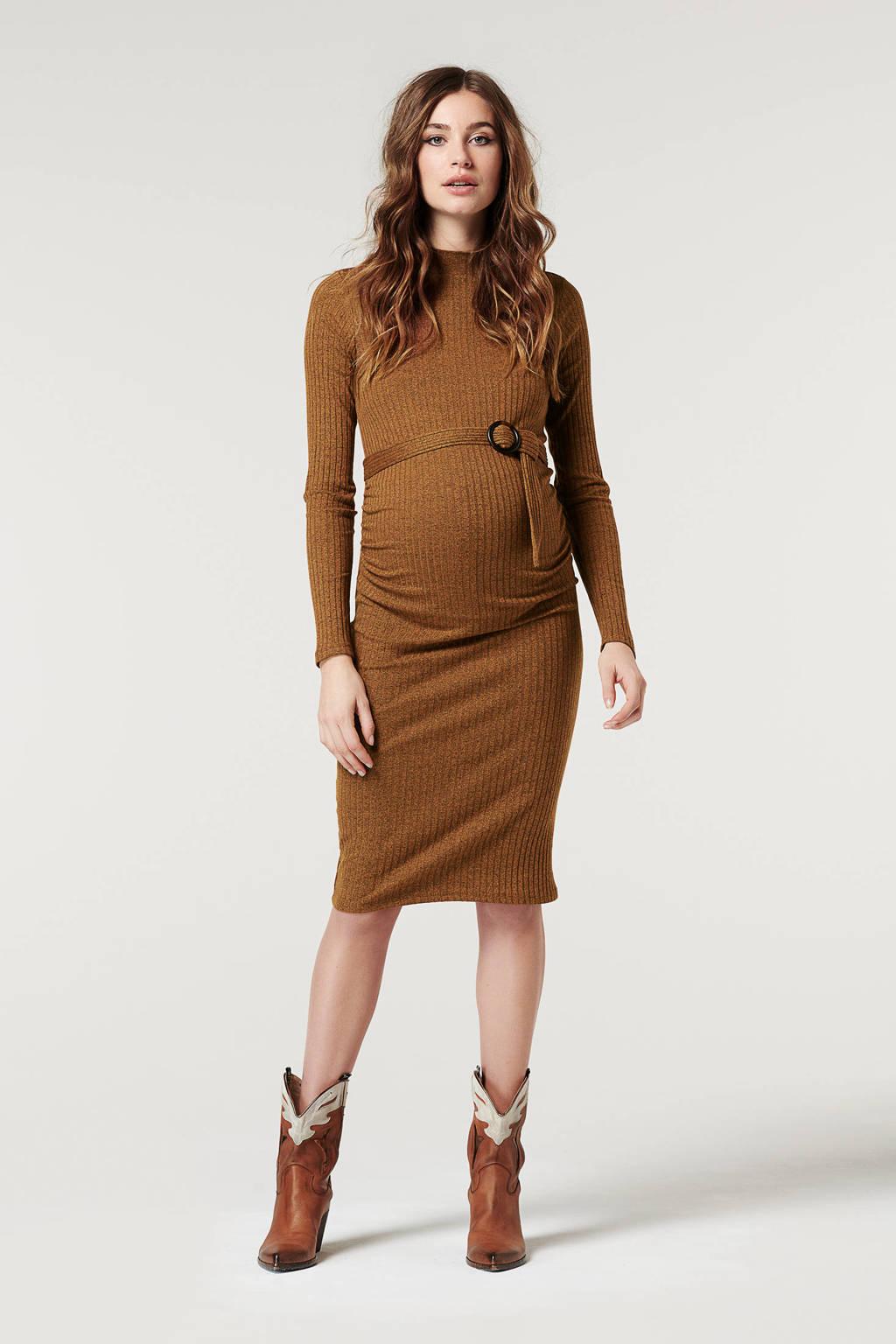 Supermom zwangerschapsjurk met ceintuur bruin, Bruin