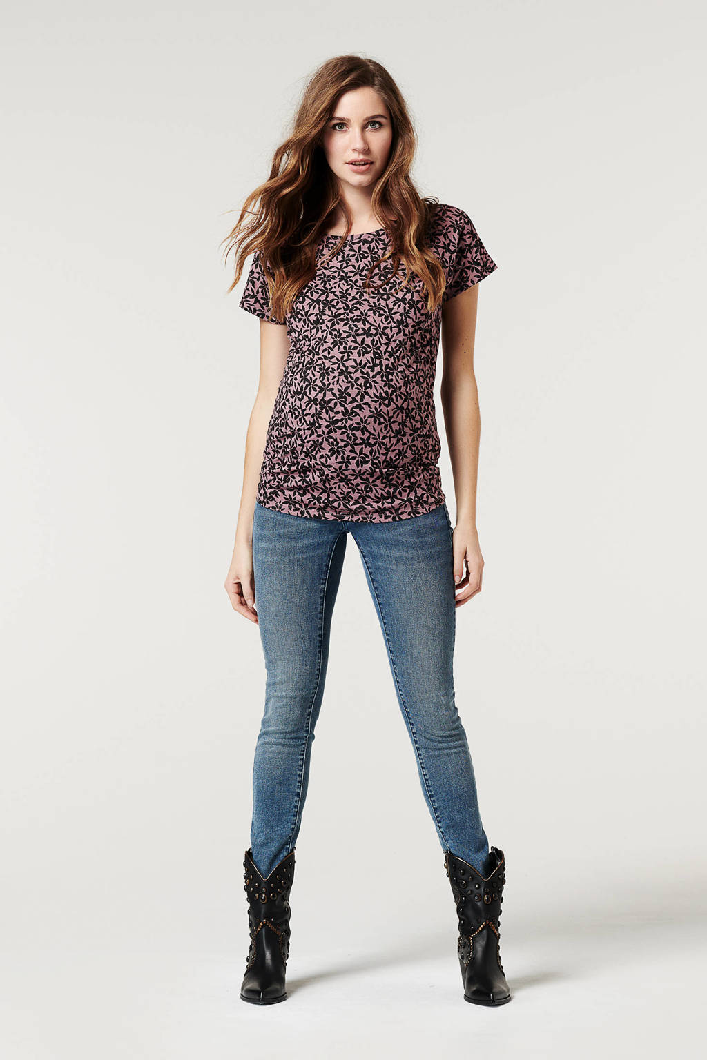 Supermom gebloemde zwangerschapsT-shirt paars/zwart, Paars/zwart
