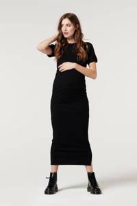 Supermom ribgebreide zwangerschapsT-shirt zwart, Zwart