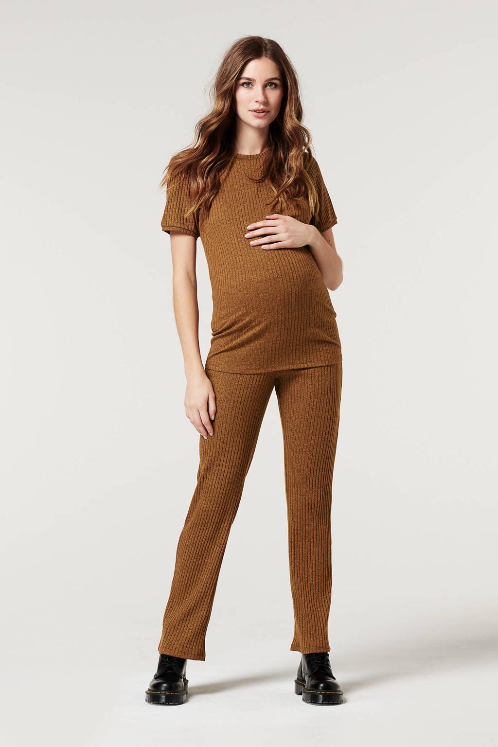 Supermom ribgebreide zwangerschapsT-shirt bruin, Bruin