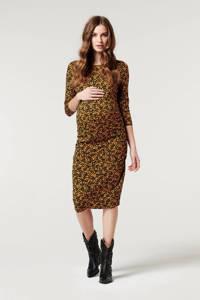 Supermom zwangerschapsjurk met all over print bruin/zwart, Bruin/zwart