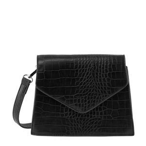 crossbody tas Flora met crocoprint zwart