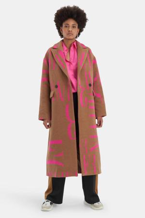 coat Robbie Glam met wol en tekst bruin/roze