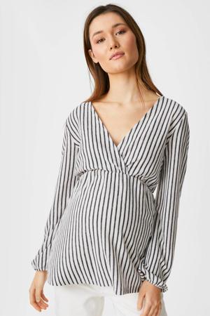 gestreepte zwangerschaps- en voedingstuniek donkerblauw/wit