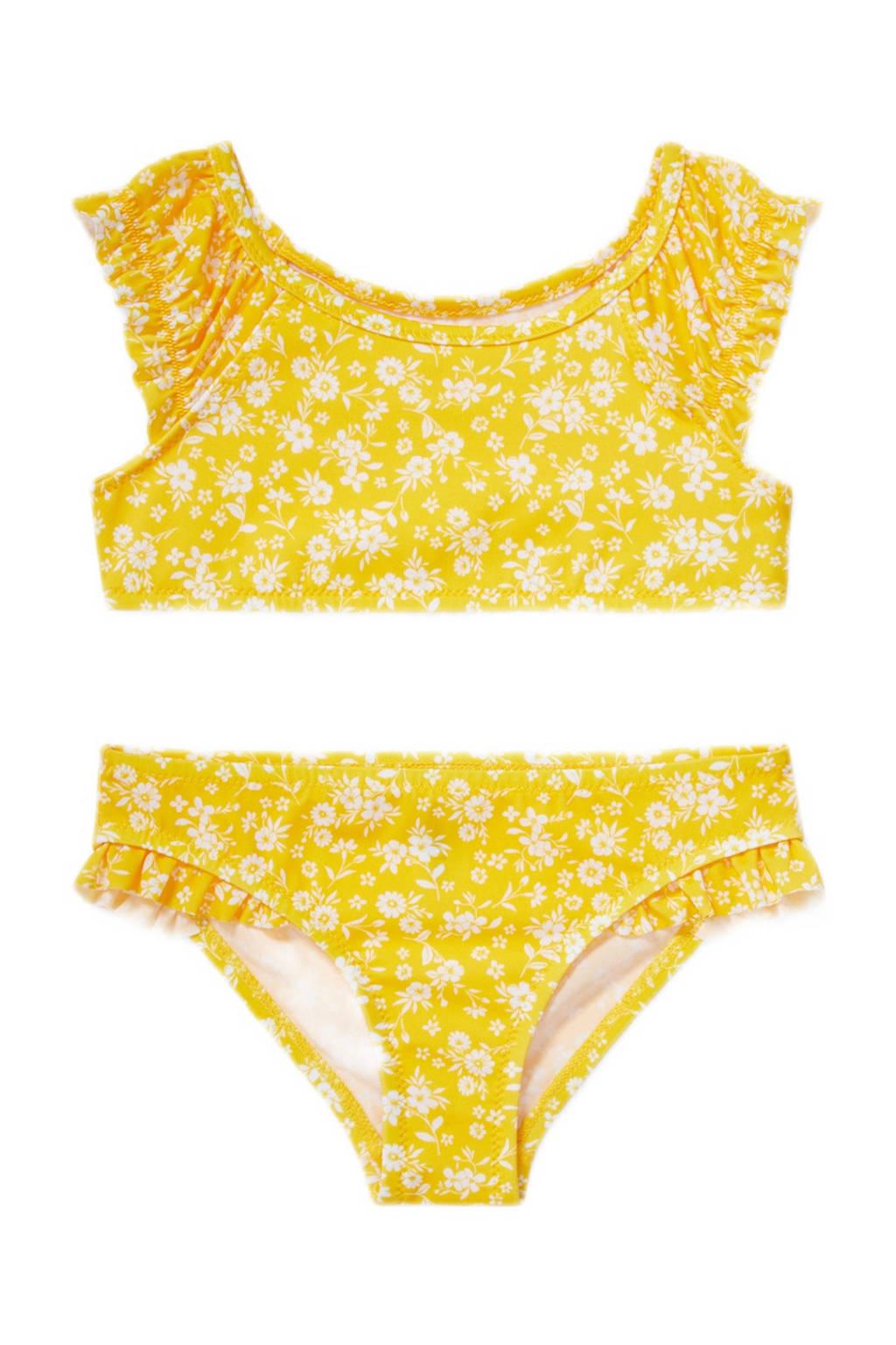 C&A Rodeo gebloemde crop bikini met ruches geel/wit, Geel/wit