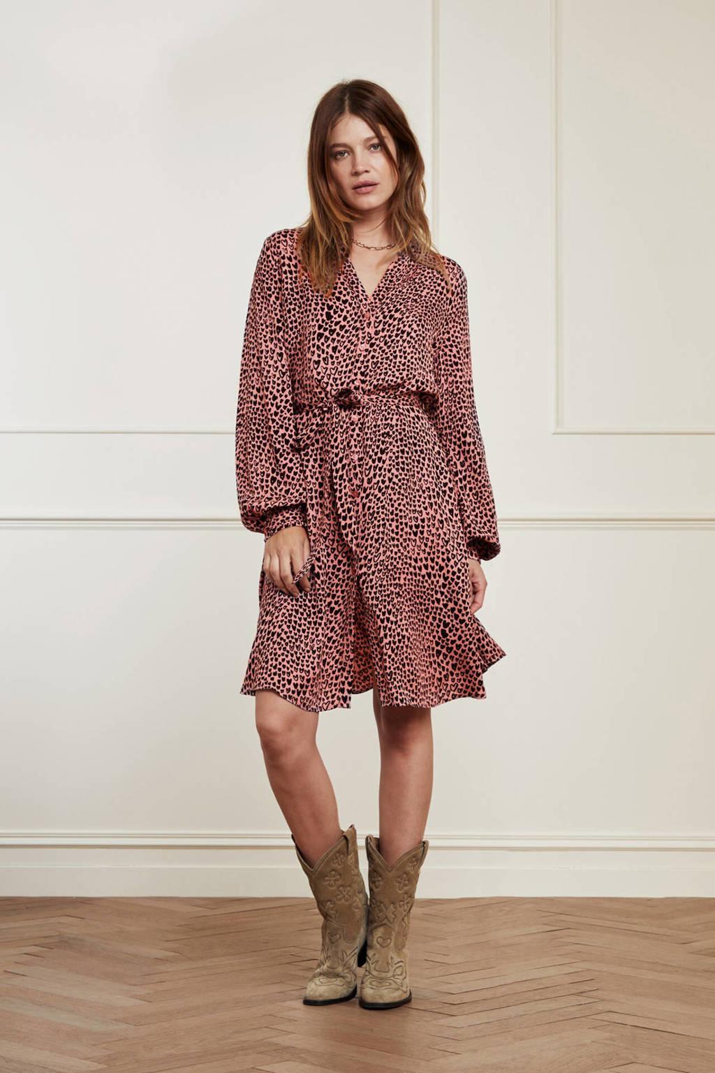 Fabienne Chapot jurk Dorien  met hartjes en plooien lovely pink/black, Lovely Pink/Black