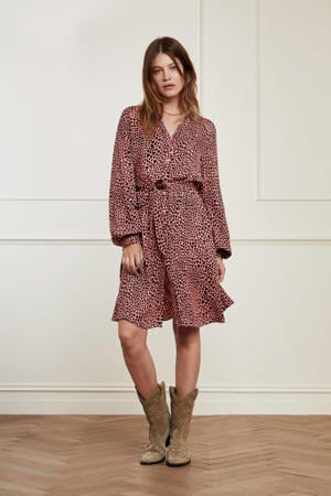 jurk Dorien  met hartjes en plooien lovely pink/black