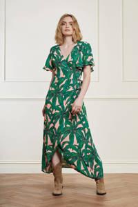 Fabienne Chapot maxi wikkeljurk Archana Sleeve Dress met bladprint roze/ groen, Roze/ groen