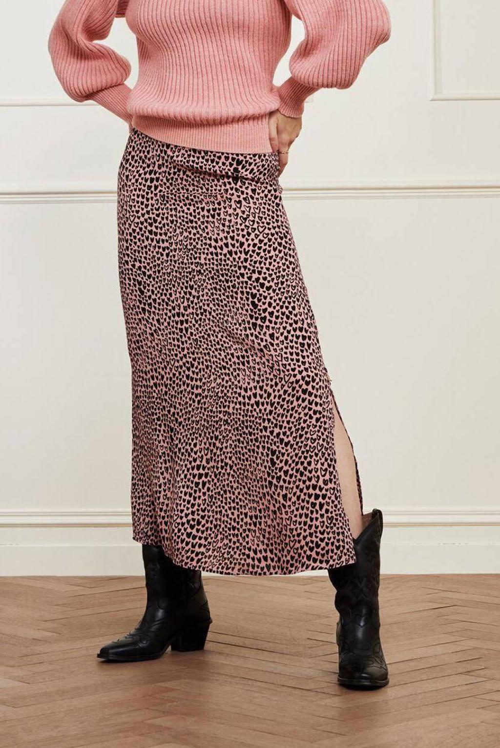 Fabienne Chapot midi rok Laurie Isa  met hartjes roze/zwart, Roze/zwart