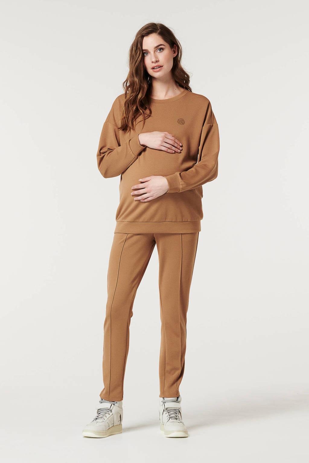 Supermom zwangerschapssweater bruin, Bruin