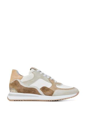 5607017  leren sneakers beige/bruin