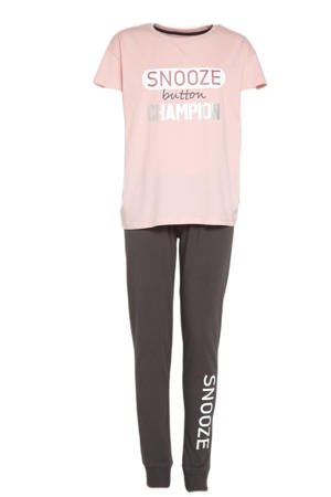 pyjama Dana met printopdruk roze/donkergrijs