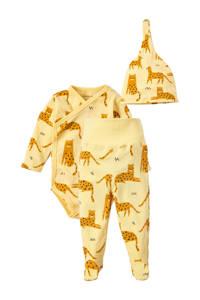Ellos 3-delige newborn babyset Nicky geel, Geel/bruin