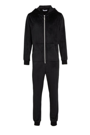 velours jumpsuit zwart