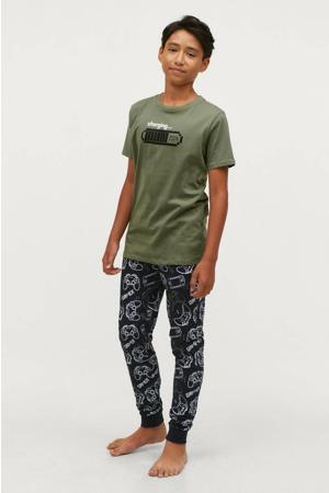 pyjama Oscar met all over print groen/zwart