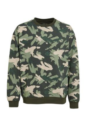 sweater met camouflageprint groen/ecru