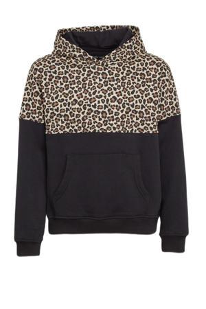 hoodie met panterprint zwart/ecru/bruin