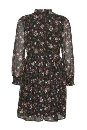 gebloemde jurk Lianna zwart/rood/wit