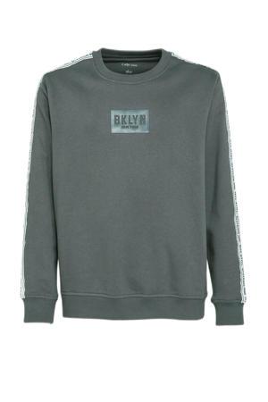 sweater met contrastbies grijs