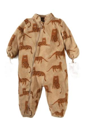baby fleece boxpak met all over print bruin
