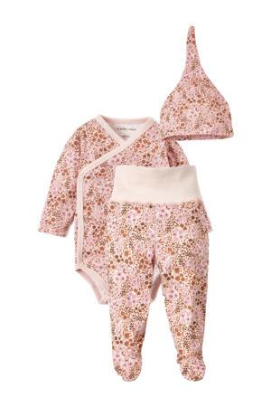 3-delige newborn babyset Nicky met all over print roze