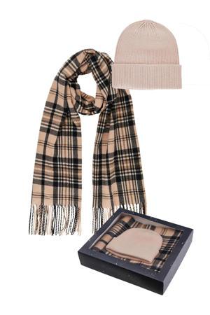 giftbox PCERISMA muts + sjaal lichtroze/antraciet