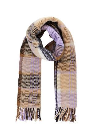 geruite sjaal PCFREDERIKKA lila/bruin
