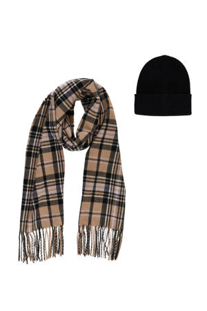 giftbox PCERISMA muts + sjaal zwart/camel