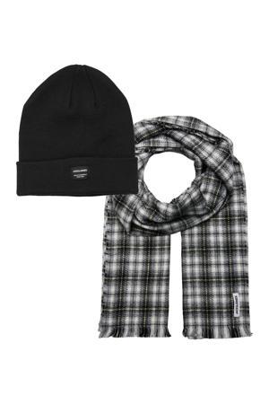 giftbox JACFROST muts + sjaal zwart/donkerblauw