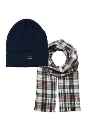 giftbox JACFROST muts + sjaal donkerblauw/olijfgroen