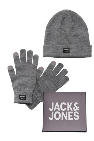 giftbox muts + handschoenen grijs melange