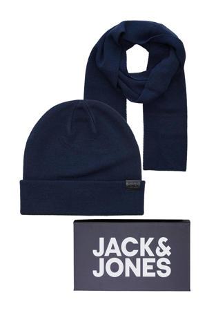 giftbox JACJOLLY muts + sjaal donkerblauw