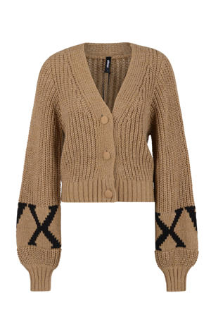 gebreid vest CASEY  bruin