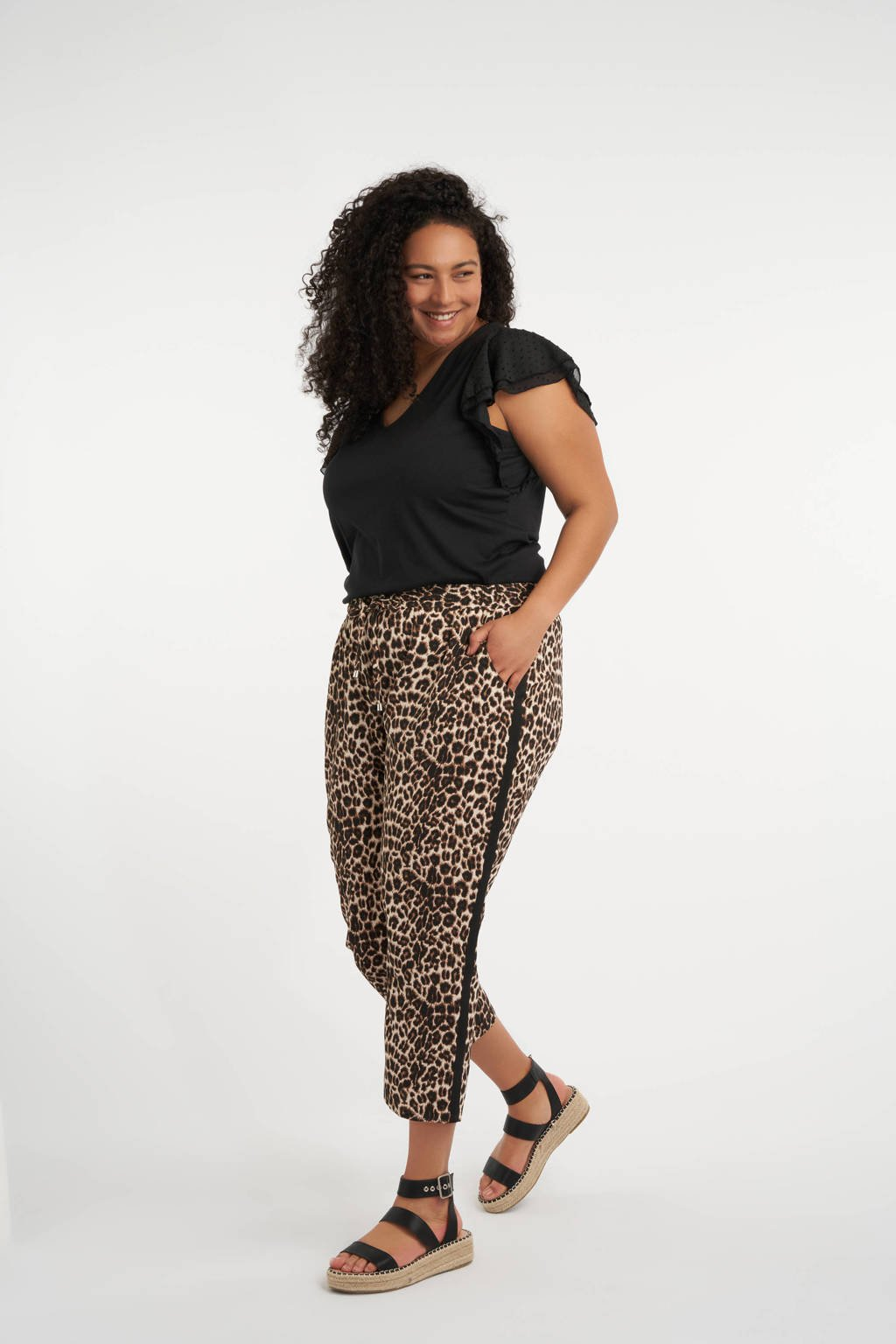 MS Mode cropped slim fit broek met panterprint beige/zwart, Beige/zwart