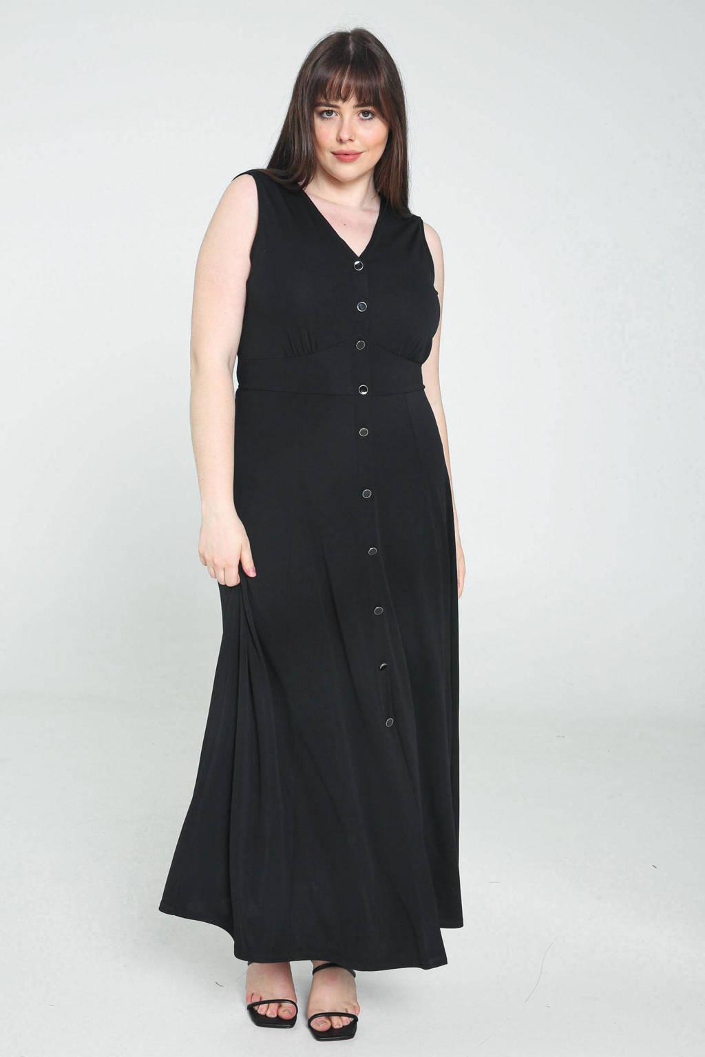 PROMISS jurk met plooien zwart, Zwart