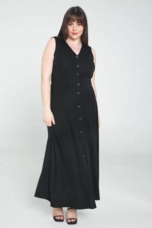 jurk met plooien zwart