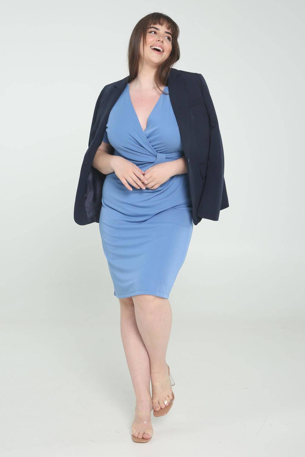 PROMISS jurk met plooien blauw, Blauw